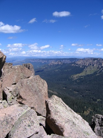 View north from near the volcanic peak of Courthouse Mountain