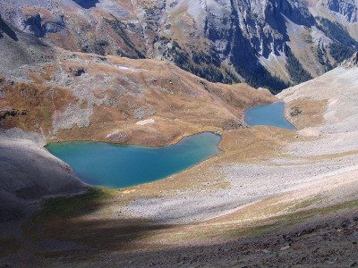 View of the Upper Blue Lakes from the pass